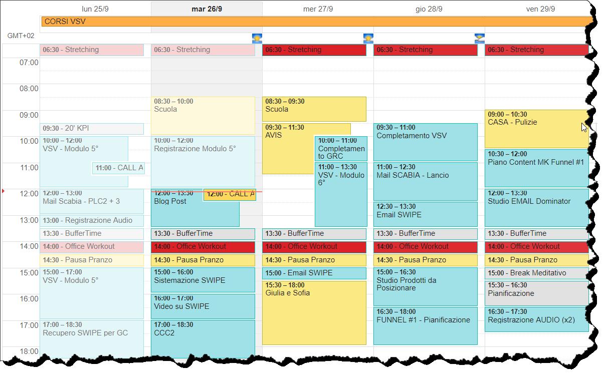 esempio di calendario per pianificazione settimanale del lavoro